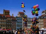 Balloons in the Old Town Square (Rynek Starego Miasta), Warsaw, Poland Photographic Print by Krzysztof Dydynski