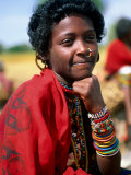 Portrait of Girl Riding Home from Market Near Tessenei, Eritrea Fotografisk tryk af Frances Linzee Gordon