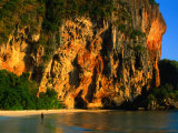 Sunset on Cliffs at Phra Nang Beach, Krabi, Krabi, Thailand Photographic Print by Anders Blomqvist