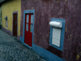 Small Painted Houses and Cobblestone Streets of Vila Do Condo, Vila Do Conde, Douro, Portugal Photographic Print by Jeffrey Becom