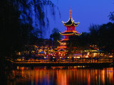 Tivoli Gardens Chinese Pagoda Restaurant at Night, Copenhagen, Denmark Photographic Print by Anders Blomqvist