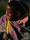 Young Shepherd Boy in Highlands, Early Morning, Simien Mountains National Park, Ethiopia Fotografisk tryk af Frances Linzee Gordon