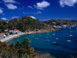 Boats in Bay, Corrossol Bay, St. Barts Photographic Print by Wayne Walton