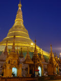 Schwedagon Pagoda Illuminated at Night, Yangon, Myanmar (Burma) Photographic Print by Ryan Fox