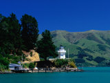 Lighthouse and Pier on Akaroa Harbour Akaroa, Canterbury, New Zealand Photographic Print by Barnett Ross