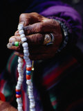 Loba Nomad Counting Prayer Beads, Yak Kharka,Kosi, Nepal Photographic Print by Richard I'Anson