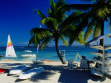 Sail Boats and Crafts for Rent on Beach, Flic En Flac, Mauritius Impresso fotogrfica por Jean-Bernard Carillet