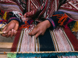 Traditionally Dressed Weaver Working, Pisac, Cuzco, Peru Lmina fotogrfica por Grant Dixon