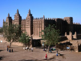 Oblique View of the Facade, Entrance, Wall and Square of the Djenne Mosque, Djenne, Mali Photographic Print by Patrick Syder