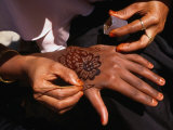 Arabic Swahili Henna Design Being Made, Lamu, Kenya Photographic Print by Ariadne Van Zandbergen