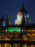 Parliament Building and Duna River at Night, Budapest, Hungary Photographic Print by David Greedy