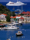 Cruise Ship Approaching Island Port, Gustavia, St. Barts Photographic Print by Wayne Walton