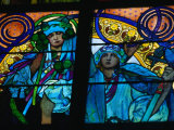 Stained-Glass Windows with Art Nouveau Mucha Designs in St. Vitus Cathedral, Prague, Czech Republic Photographic Print by Richard Nebesky