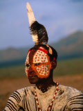 Portrait of a Karo Man with Elaborate Body Painting, Kolcho, Ethiopia Photographic Print by Ariadne Van Zandbergen