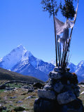 Ama Dablam Peak and Chorten in Khumbu Valley on the Everest Basecamp Trek, Khumbu, Nepal Photographic Print by Grant Dixon
