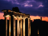 Granite Columns Illuminated Against Sky at Sunrise, Rome, Italy Photographic Print by Jonathan Smith