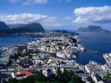 City and Harbour from Kniven Overlook on Aksla Hill, Alesund, Norway Photographic Print by Pershouse Craig