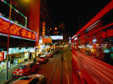 Wanchai Street at Night, Hong Kong, China Photographic Print by Lawrence Worcester