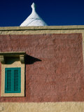 Painted Wall with Shuttered Window and Stuccoed Trullo Dome in Canal Di Piero, Apulia, Italy Fotoprint van Jeffrey Becom
