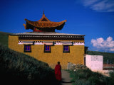 Tibetan Monastery and Monk, Zoige, Sichuan, China Photographic Print by Jane Sweeney