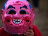 Boy Wearing Colourful Mask at Tet Nguyen Dan Celebrating Lunar New Year Holiday, Da Lat, Vietnam, Photographic Print