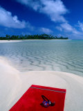 Goggles and Towel on Idyllic Beach and Lagoon, Aitutaki, Southern Group, Cook Islands Photographic Print by John Banagan