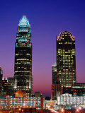 Bank of America Corporate Center (Left) and Hearst Tower at Dusk, Charlotte, USA Photographic Print by Richard Cummins