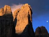 Moon Above Tre Cimo Di Lavaredo at Dawn, Dolomiti Di Sesto Natural Park, Trentino-Alto-Adige, Italy Photographic Print by Grant Dixon