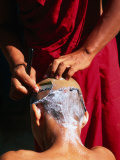One Monk Shaving the Head of Another, Amarapura, Mandalay, Myanmar (Burma) Photographic Print by Anders Blomqvist