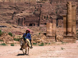 Two Locals Ride Their Donkey Around the Ancient City, Petra, Ma'An, Jordan Photographic Print by Jane Sweeney