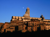Cathedral and Houses Below the Moon, Siena, Tuscany, Italy Photographic Print by David Tomlinson