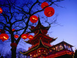Chinese Pagoda and Tree Lanterns in Tivoli Park, Copenhagen, Denmark Photographic Print by Izzet Keribar