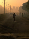 People on Their Way to Work, with St. Gabriel's Church in Background, Awasa, Ethiopia Photographic Print by Frances Linzee Gordon