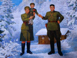 Large Billboard of Young Kim II Sung, Kim Jong Suk and Infant Kim Jong II, Chagang-Do, North Korea Photographie par Tony Wheeler