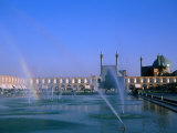 Fountain with Rainbow Outside Masjed-E Emam, Esfahan, Iran Photographic Print by Martin Moos