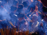 People Burning Incense at Wong Tai Sin Temple, Kowloon, Hong Kong, China Photographic Print by Lawrence Worcester