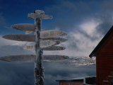 Frozen Signpost, Narvik, Nordland, Norway Photographic Print by Christian Aslund