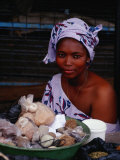 Female Spice Vendor at Market, Looking at Camera, Yamoussoukro, Cote d'Ivoire Photographic Print by Pershouse Craig