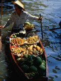 Boat Stall at Floating Market, Bangkok, Thailand Photographic Print by John Hay