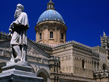 Statue and Palermo Cathedral, Palermo, Sicily, Italy Photographic Print by Dallas Stribley