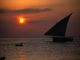 Dhow at Sunset, Tanzania Photographic Print by Ariadne Van Zandbergen
