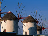 Windmills on the Island of Mykonons,Mykonos Island, Greece Photographic Print by John Elk III