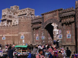 Market Stalls in Front of Bab Al-Yaman (Gate of Yemen), San'a, Yemen Photographic Print by Bethune Carmichael
