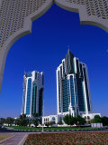 Twin Towers at Eastern End of the Corniche, Doha, Ad Dawhah, Qatar Photographic Print by Mark Daffey