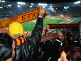 Soccer Fans at Roma Vs Ajax Amsterdam Match at Champions League Game Stadio Olimpico, Rome, Italy Photographie par Martin Moos