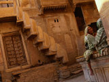 Pair of Women Chatting at Jaisalmer Fort, Jaisalmer, Rajasthan, India Photographic Print by Dallas Stribley