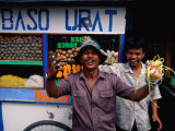 Local Characters Playing Up to Camera in Front of Food Stall, Jakarta, Indonesia Photographic Print by Glenn Beanland