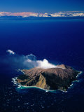 Aerial View of White or Whakaari Island, in Bay of Plenty, New Zealand Photographic Print by David Wall