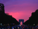 Traffic on the Champs-Elysees and the Arc De Triomphe After Sunset, Paris, Ile-De-France, France Photographic Print by Izzet Keribar