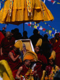 Tibetan Lamas Carrying Photo of Dalai Lama During Tibetan New Years Festival, Nepal Photographic Print by Kraig Lieb